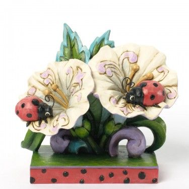 Love Bugs-Ladybugs On Flowers Figurine