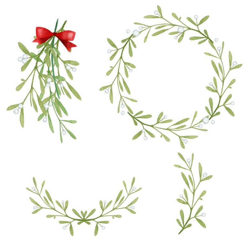 Christmas Wreath Mistletoe Watercolor Greenery Clip Art Etsy In 2021 Christmas Wreath Illustration Wreath Illustration Christmas Wreath Illustration