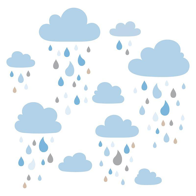 Kinderzimmer Wandsticker Wolken blau/beige/grau 81teilig