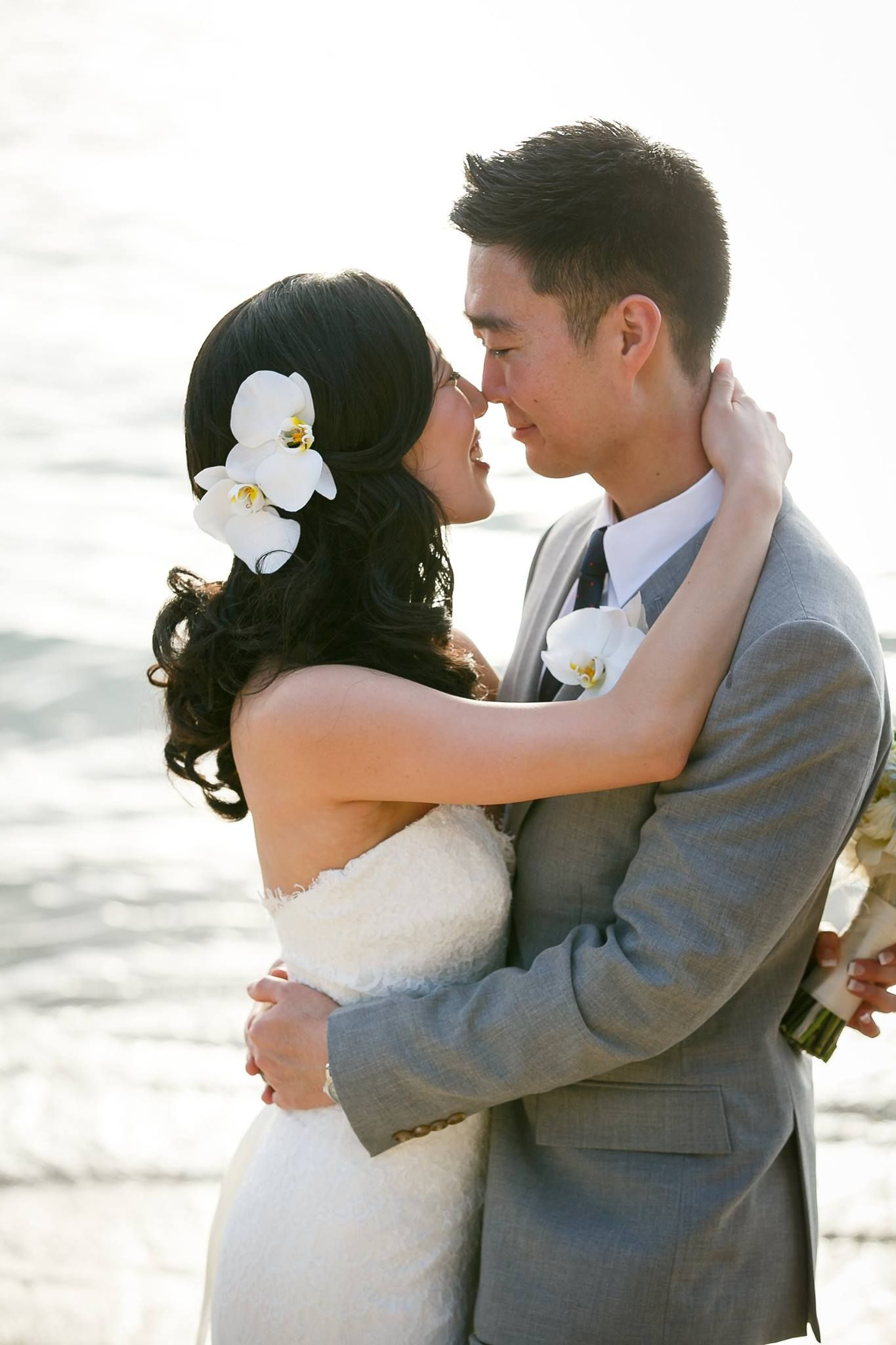 side pony asian hair orchids beach wedding hawaii whik'd