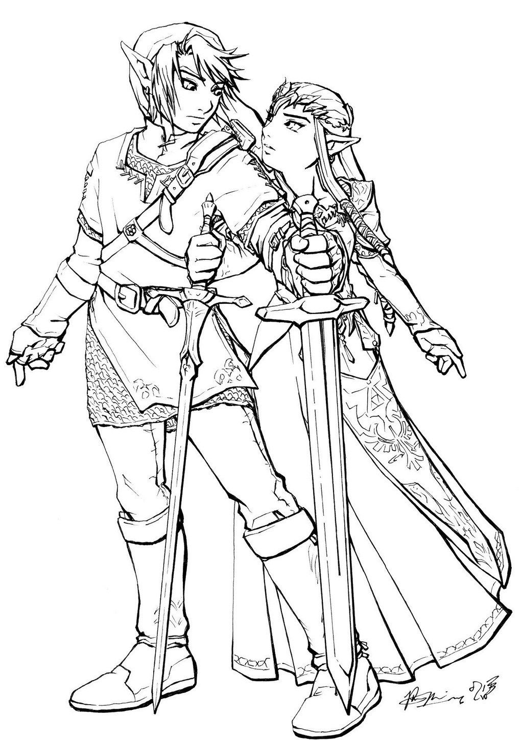 Link And Zelda Coloring Page Princess coloring pages