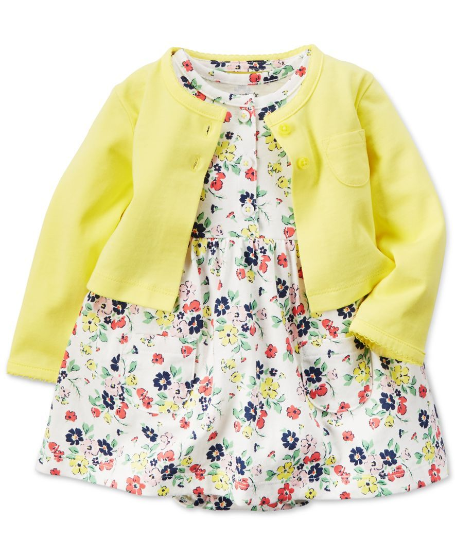 Carter's Baby Girls' Floral-Print Dress & Yellow Sweater Set ...