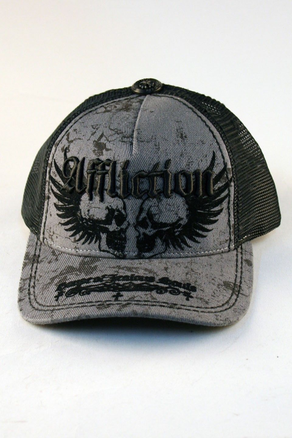 Affliction® Neglect Trucker Hat in Grey for Men and Women Affliction  clothing makes cool alternatives to mens fitted caps including Neglect 6eb70c700b3
