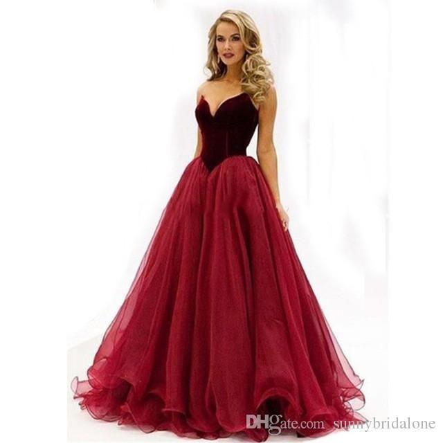 Wine Red Long Elegant Prom Dress 2017 Vintage A line Floor Length ...