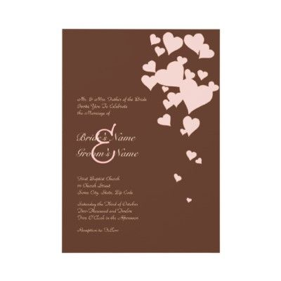 Pink and Brown Hearts Wedding Invitation (10-pack)
