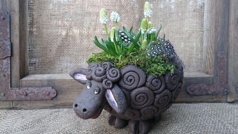 Grosses Schwarzes Schaf Ton Kunst Topferhandwerk Keramik