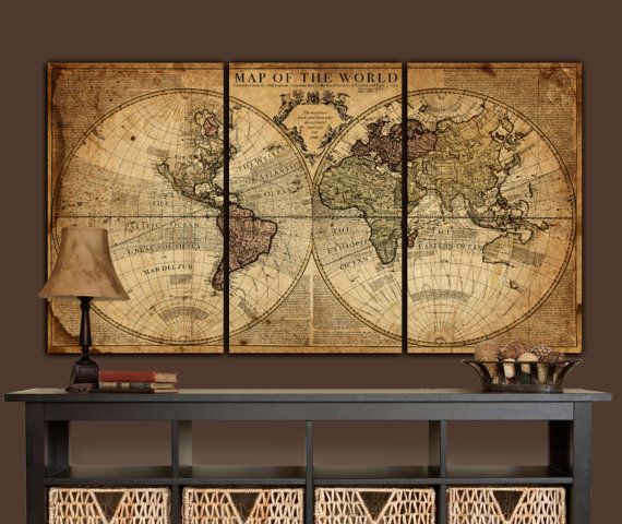 Globe tan map world map canvas vintage map set large wall art globe tan map world map canvas vintage map set large wall art gumiabroncs Image collections