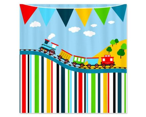 Happy Train Personalized Kids Shower Curtain By Happywoodgoods