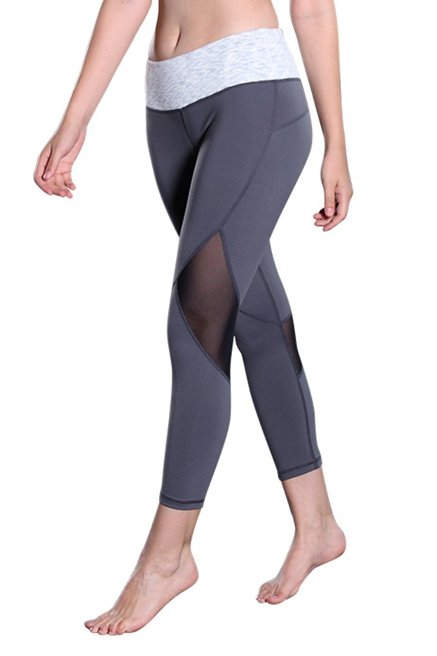 480a4af1450f2 Womens Mesh Yoga Legging Capri Pants Skinny Fitness Activewear Pants with Hidden  Pocket Dark Grey M