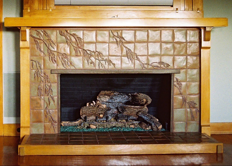 Arts and crafts fireplace by pasadena craftsman tile for Arts and crafts fireplace tile