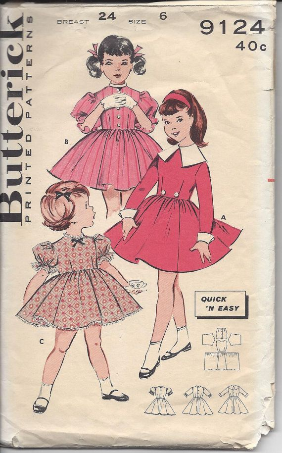 1960s Butterick 9124 Girls' Quick 'N Easy Dress Size 6, Vintage Sewing Pattern