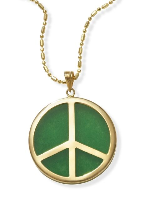 Green jade and 14k gold peace sign pendant only 17900 peace sign green jade and 14k gold peace sign pendant only 17900 peace sign jewelry mozeypictures Image collections