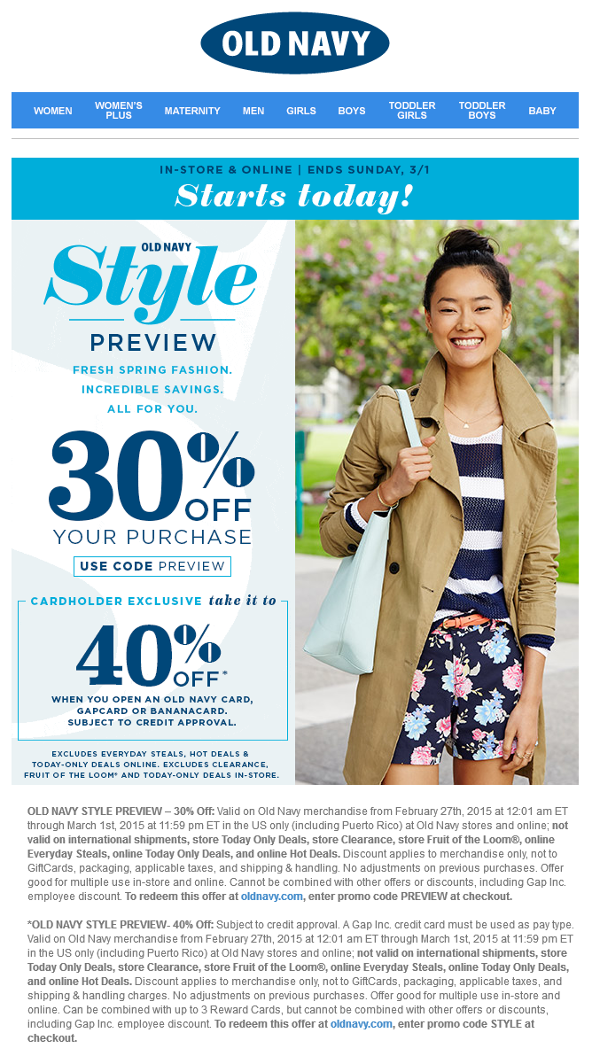 Pinned February 27th: 30% off at #OldNavy or online via promo code PREVIEW #coupon via The #Coupons App