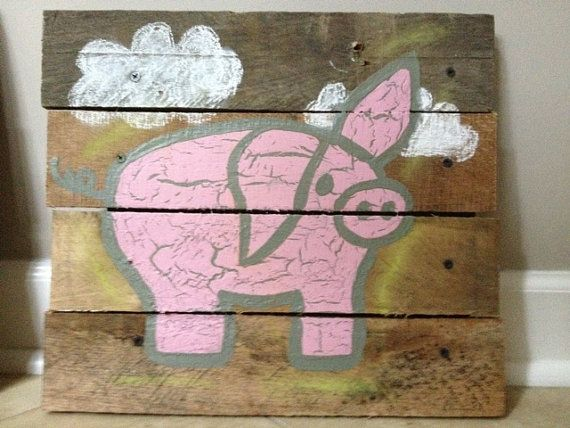 Pig Art Pallet Art 20x20 Rustic Wall Art Farm Animals