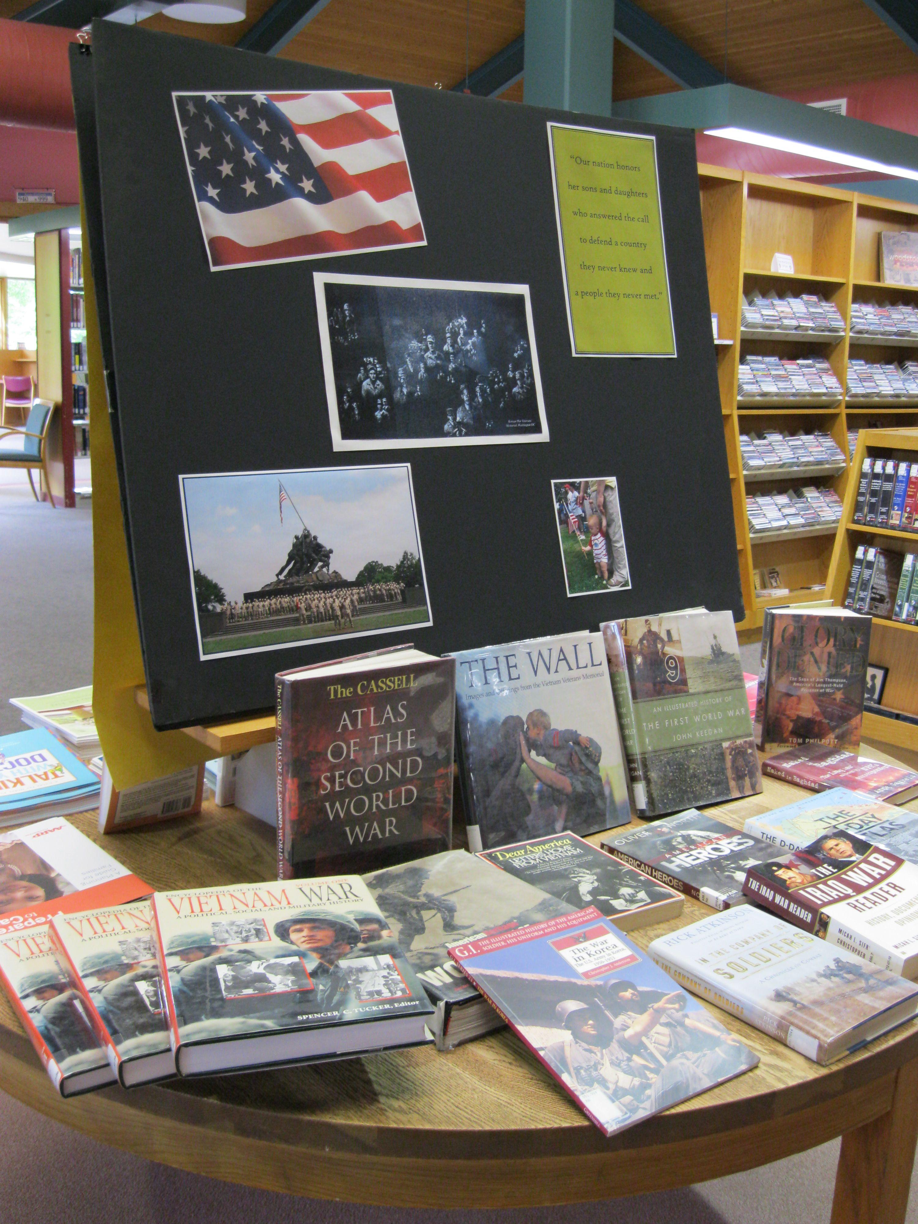 Memorial day display table library book displays book