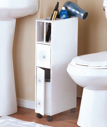 $30 White Bathroom Space Saver Cabinet With Wheels Uniqueu0027s Shop Http://www.