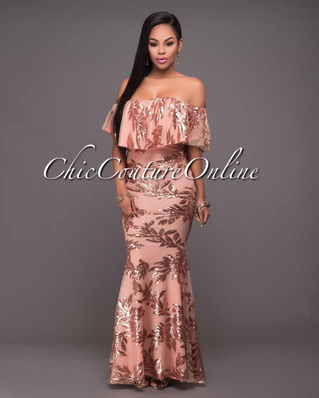 Pascha Rose Gold Sequins Salmon Off-The-Shoulder Maxi Dress