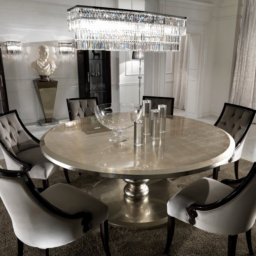 Dining Room Sets Round Table Lovely Round Italian Champagne Leaf