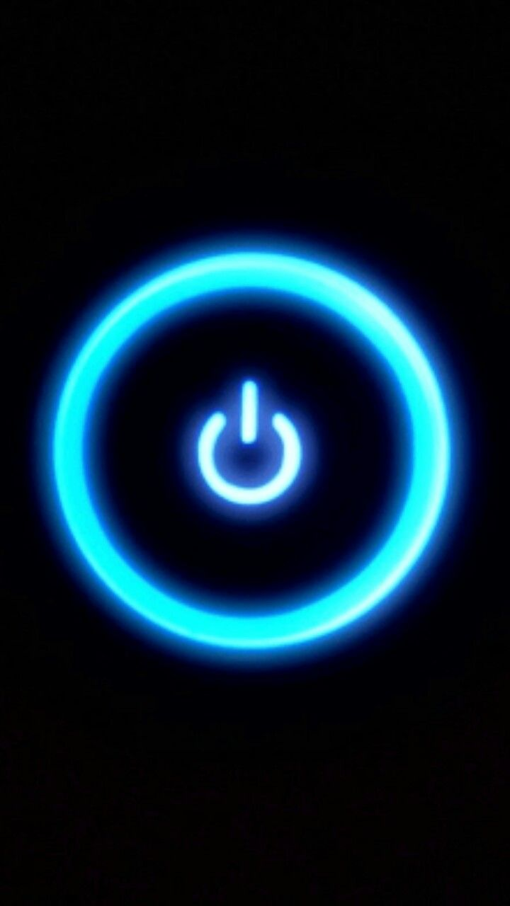 Big Glowing Blue Power Button On Black Background On Lock Screen Wallpaper For Iphone Background Hd Wallpaper Smartphone Wallpaper Hd Wallpaper