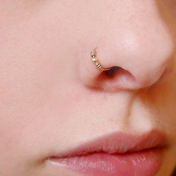 Bague nasale véritable OR ROSE 9K Tragus cerceau 22g 8mm septum 0.6mm