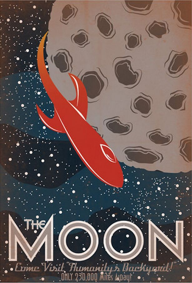"""""""The Moon"""" - Retro Solar System Posters by Luke Minner and Naomi Wilson 