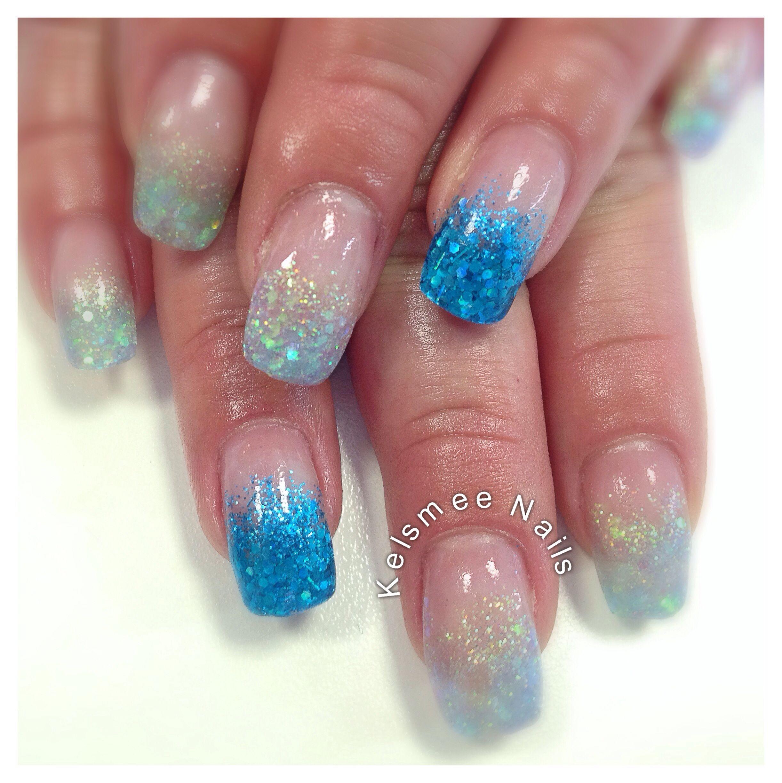 Two Tone Nail Polish Fade: Young Nails Acrylic Glitter Fading