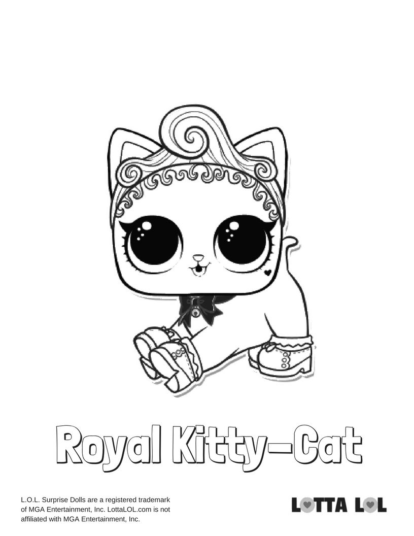 Royal Kitty Cat Coloring Page Lotta Lol Lol Dolls Coloring Pages Cat Coloring Page