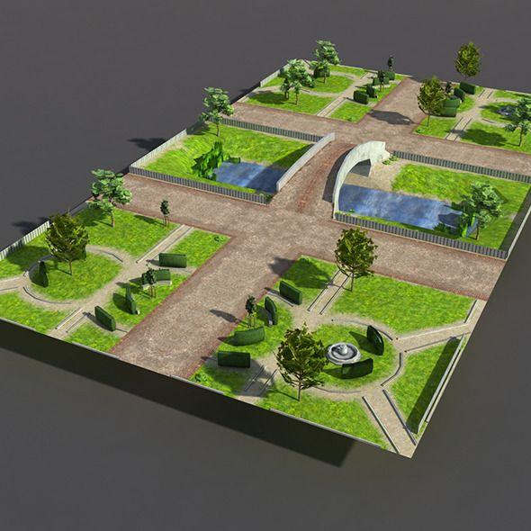 Low Poly Park Garden Landscape Design Beautiful Gardens