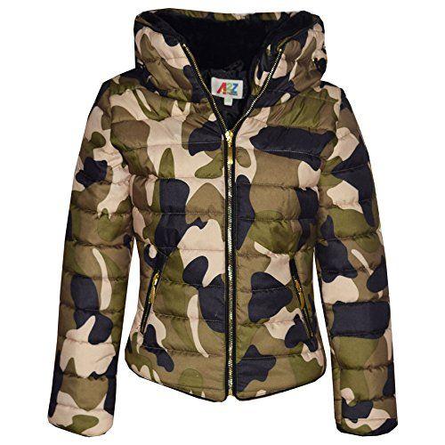 eb9deda88bd5 A2Z 4 Kids  Girls Jacket Kids Padded Camouflage Puffer Bubble Fur ...