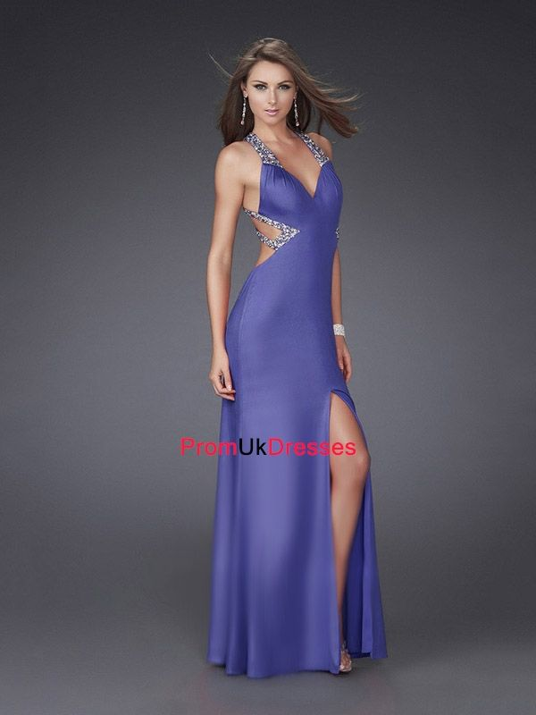 Sexy Deep V-neck with Beadings and Slit Floor Length Satin Prom ...