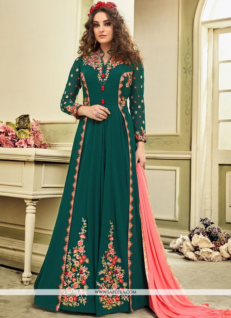 c0ec482e9c Buy online haute green embroidered and resham work floor length anarkali  suit and get the best deals. - Salwar Kameez