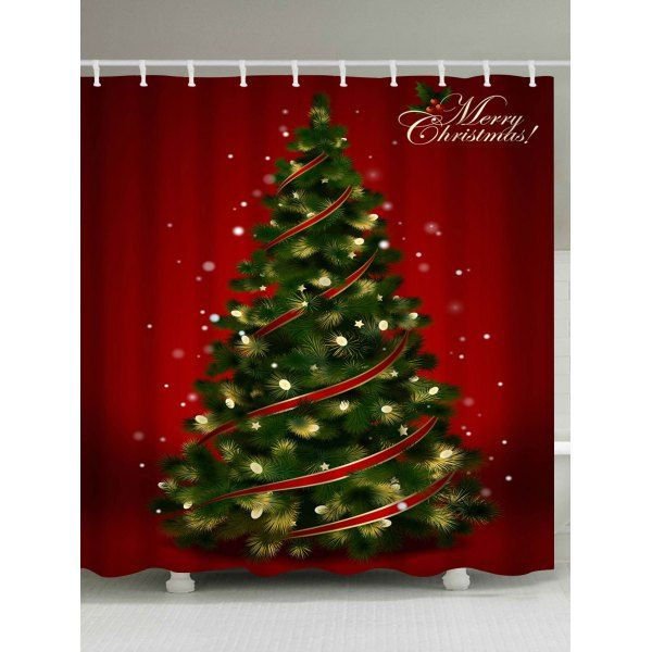 Polyester Waterproof Christmas Tree Print Shower Curtain