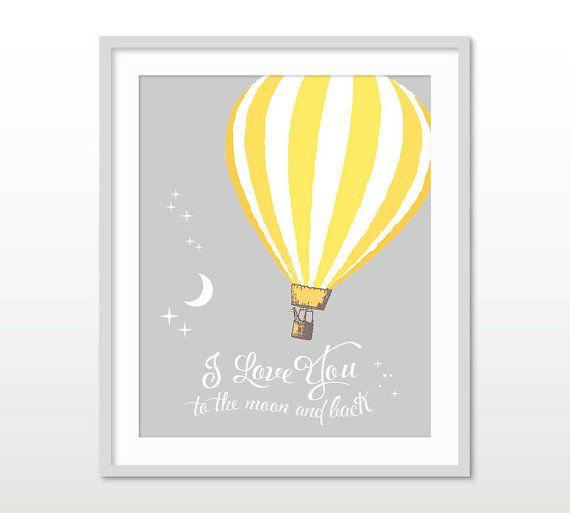 I Love You To The Moon, Hot Air Balloon, Yellow Grey Nursery, Hot ...