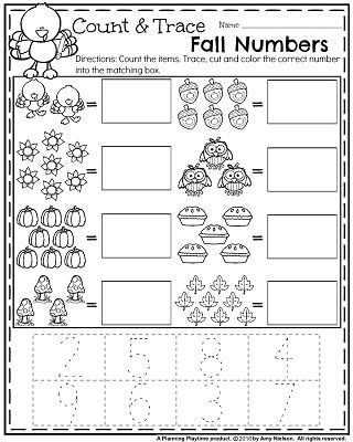 Fall Preschool Worksheets for November - Count and Trace fall