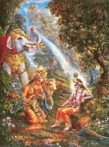 AIRAVATA SHOWERS KRSNA WITH GANGES WATER  One day, shortly after Krsna had lifted Govardhana Hill, Indra secretly came into His presence, offered obeisances, and praised Him.The cow Surabhi then offered her prayers to the Lord. Afterward she performed Krsna's bathing ceremony with her own milk, and Indra, ordered by Aditi and other mothers of the demigods, bathed the Lord with heavenly Ganges water from the trunk of Indra's elephant carrier, Airavata.