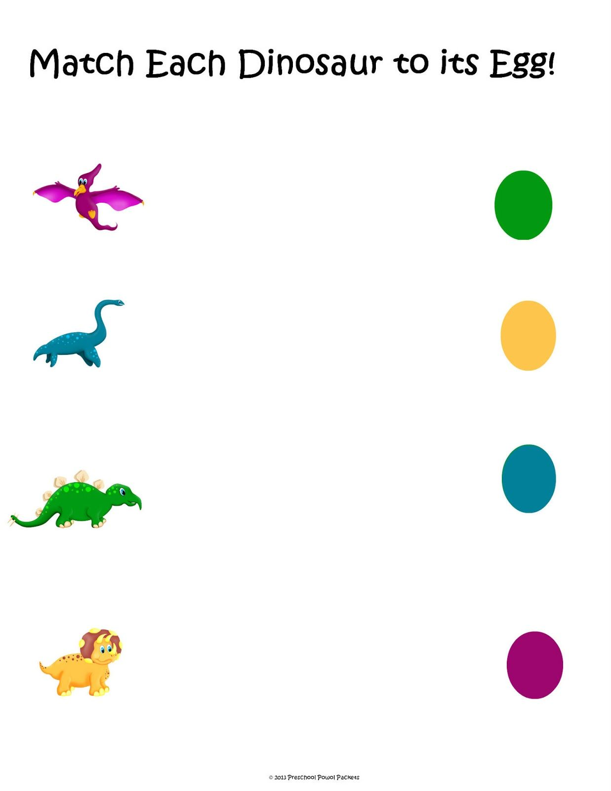Free Dinosaur Matching Packet With Images