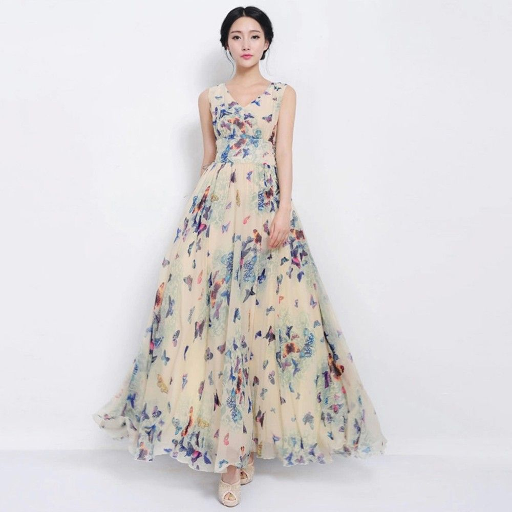 Buy now style o style summer maxi butterfly print long dress woman