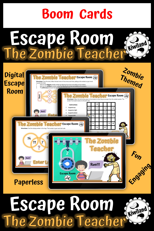 Escape Room The Zombie Teacher Math Mystery Boom Learning Cards Escape Room Learning Cards Math Mystery [ 5625 x 3750 Pixel ]