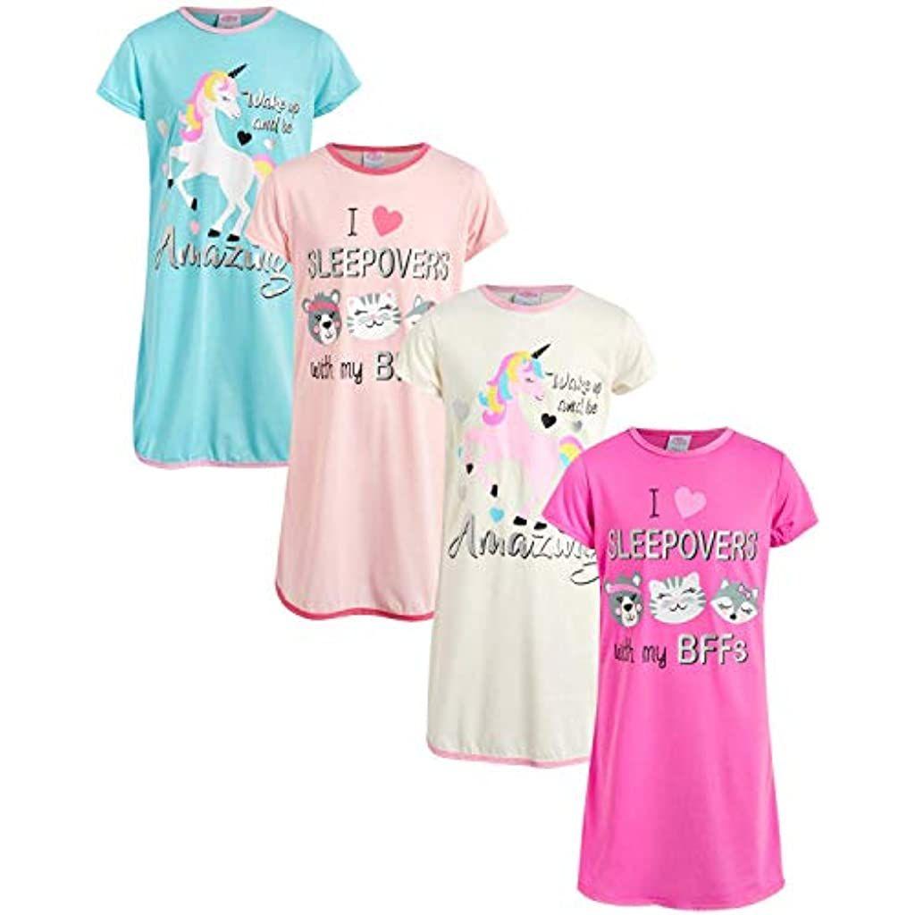 Sweet /& Sassy Girls Short Sleeve Unicorn Nightgown Pajamas 4 Pack