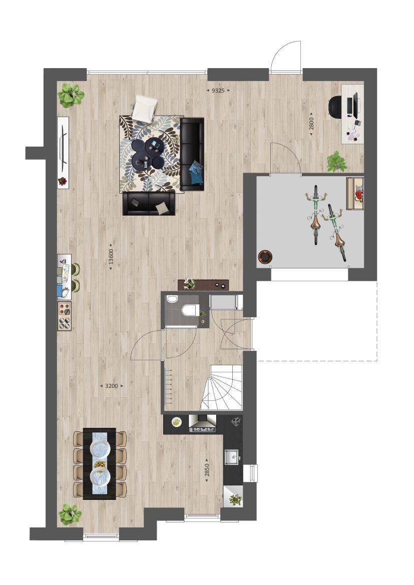Indeling van een tweekapper met vergrote woonkamer #vanwanrooij ...