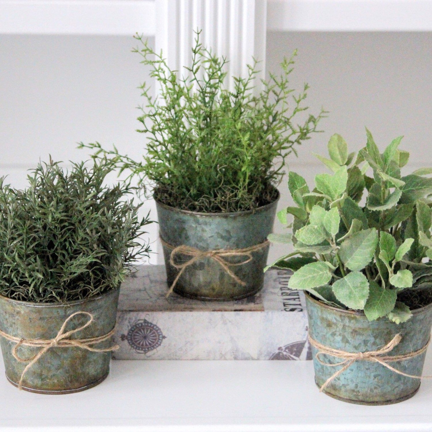 Farmhouse Decor Faux Herbs Faux Greenery Faux Rosemary Mint And Dill In Three Galvanized Pots Galvanized Pots Peonies And Hydrangeas Summer Centerpieces