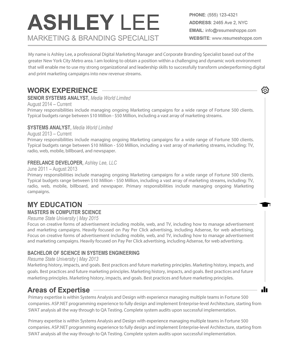 Areas Of Expertise Resume Examples The Ashley Resume  Creative Resume For Mac And Word  Creative And .