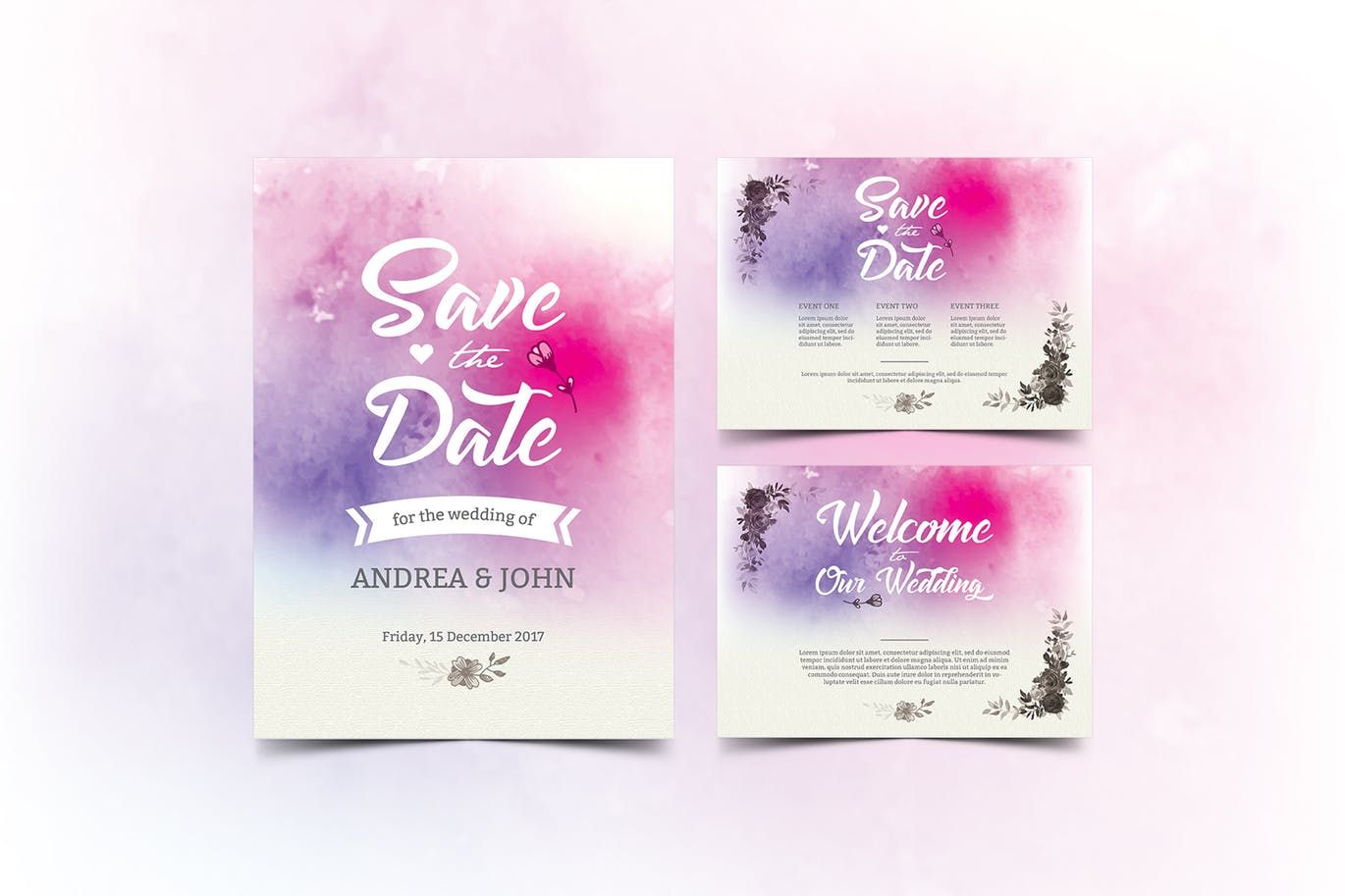 Watercolor Wedding Invitation Template Psd  Wedding Invitation