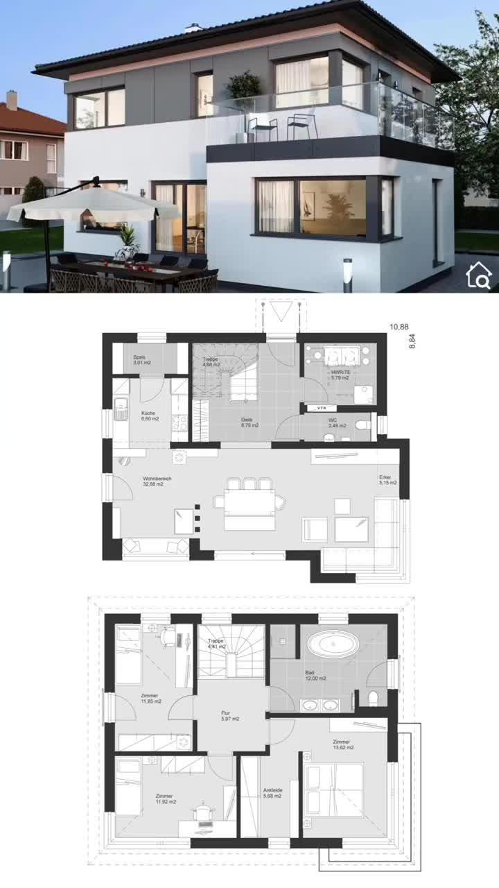 Moderne Einfamilienhaus Stadtvilla mit Walmdach Holz Putz Fassade & Erker bauen Haus Grundriss