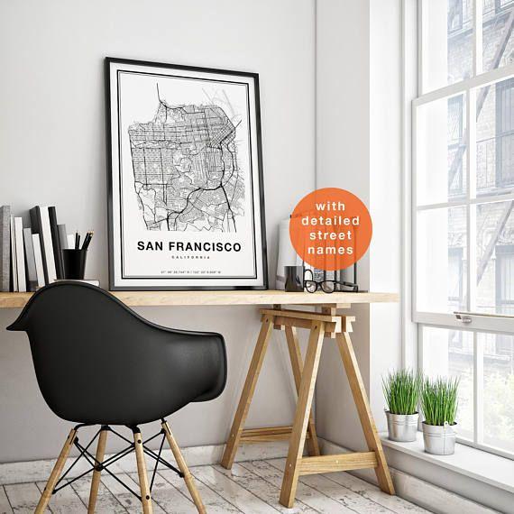 San Francisco Map San Francisco City Map Art San Francisco ...
