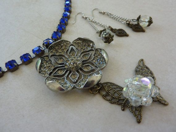 Necklace Earrings Set: Royal Blue Rhinestones Silver Chain, Gorgeous Cut out Floral Pendant Covered with Clear Rhinestones-Flower Butterfly