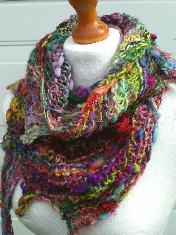 Boho Knit Scarf , Art Yarn Scarf , Handspun Yarn , Scarf