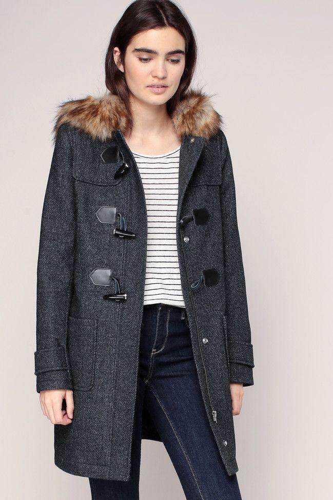Caban à capuche gris avec fourrure Danita Naf Naf | Fashion