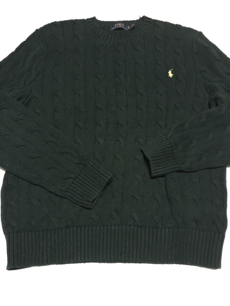 Polo Ralph Lauren Crewneck Sweater men\u0027s XL deep green Cable Knit Cotton  pony