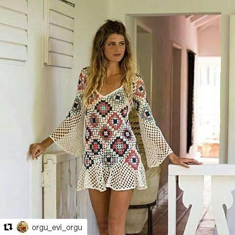 2a74ea014 No Instagram (crochelinhasagulhas) | Virkningar | Vestidos de crochê ...